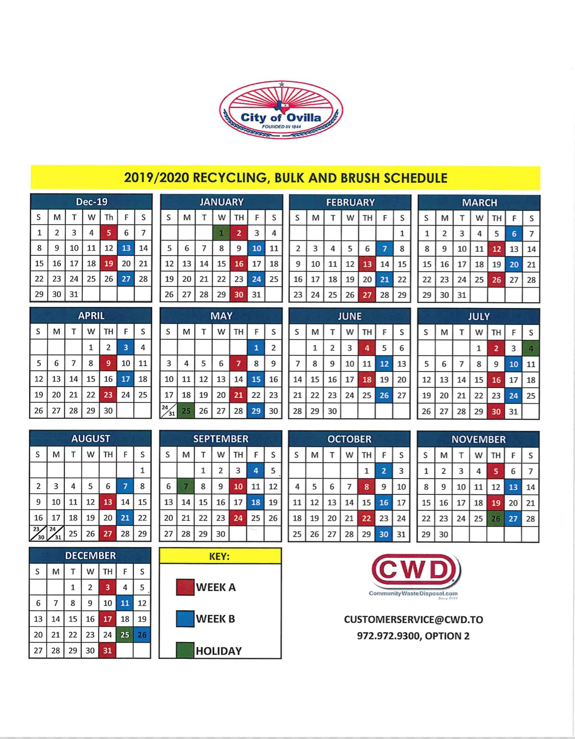 2019-2020 Recycling, Bulk and Brush Schedule